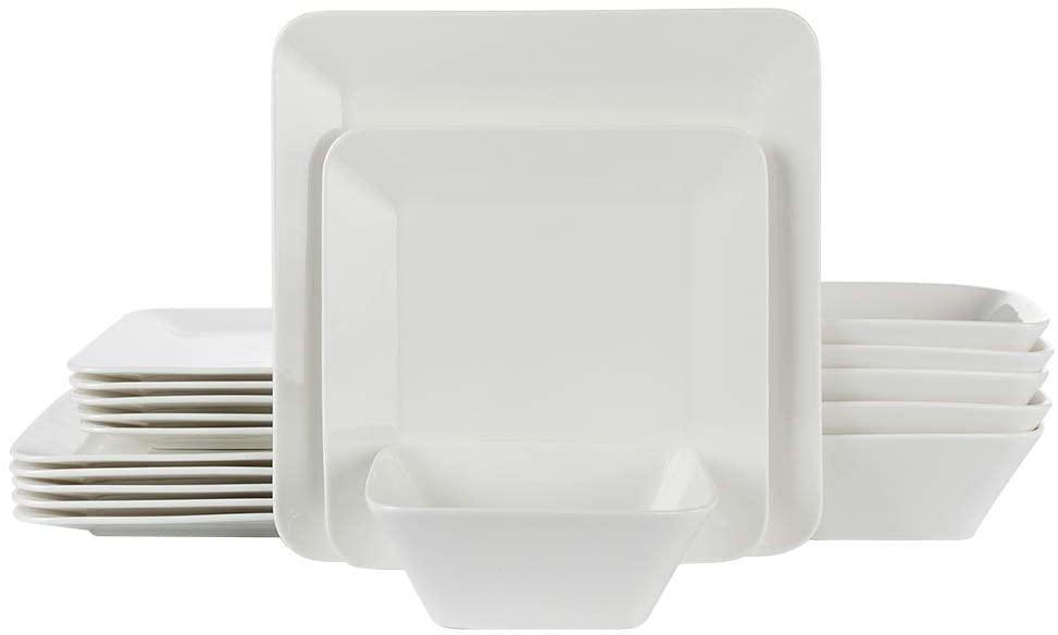 Porlien 18-Piece Dinnerware Set for 6, Cream White, Square