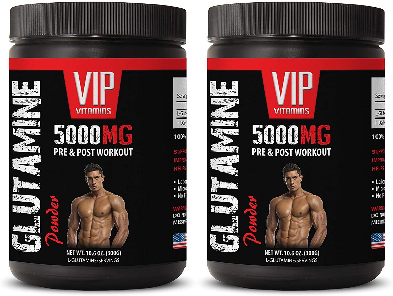 pre-Workout All Natural - GLUTAMINE Powder 5000MG - PRE & Post Workout - l-glutamine Forte - 2 Cans 600 Grams