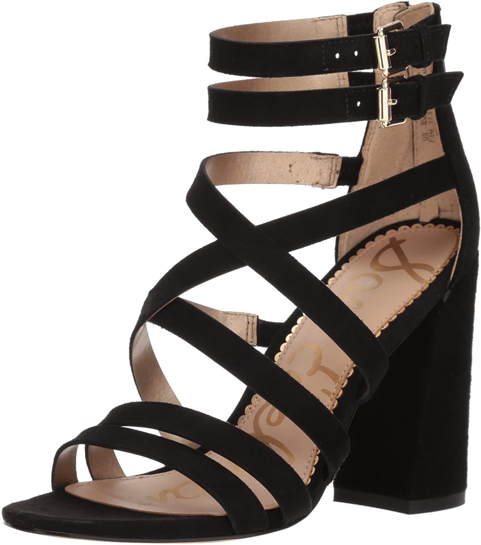 Sam Edelman Women's Yema Heeled Sandal, Black Suede, 8 M US