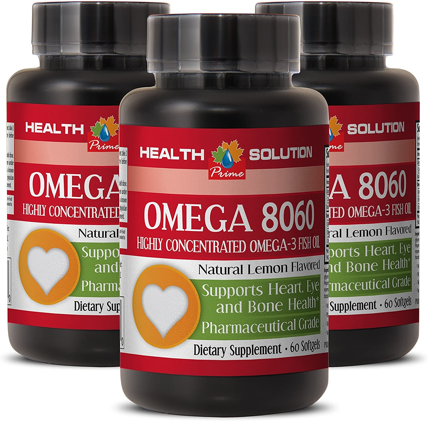 Omega with Vitamin d - Omega 8060 Omega-3 Fatty ACIDS - Boost The Immune System (3 Bottles)