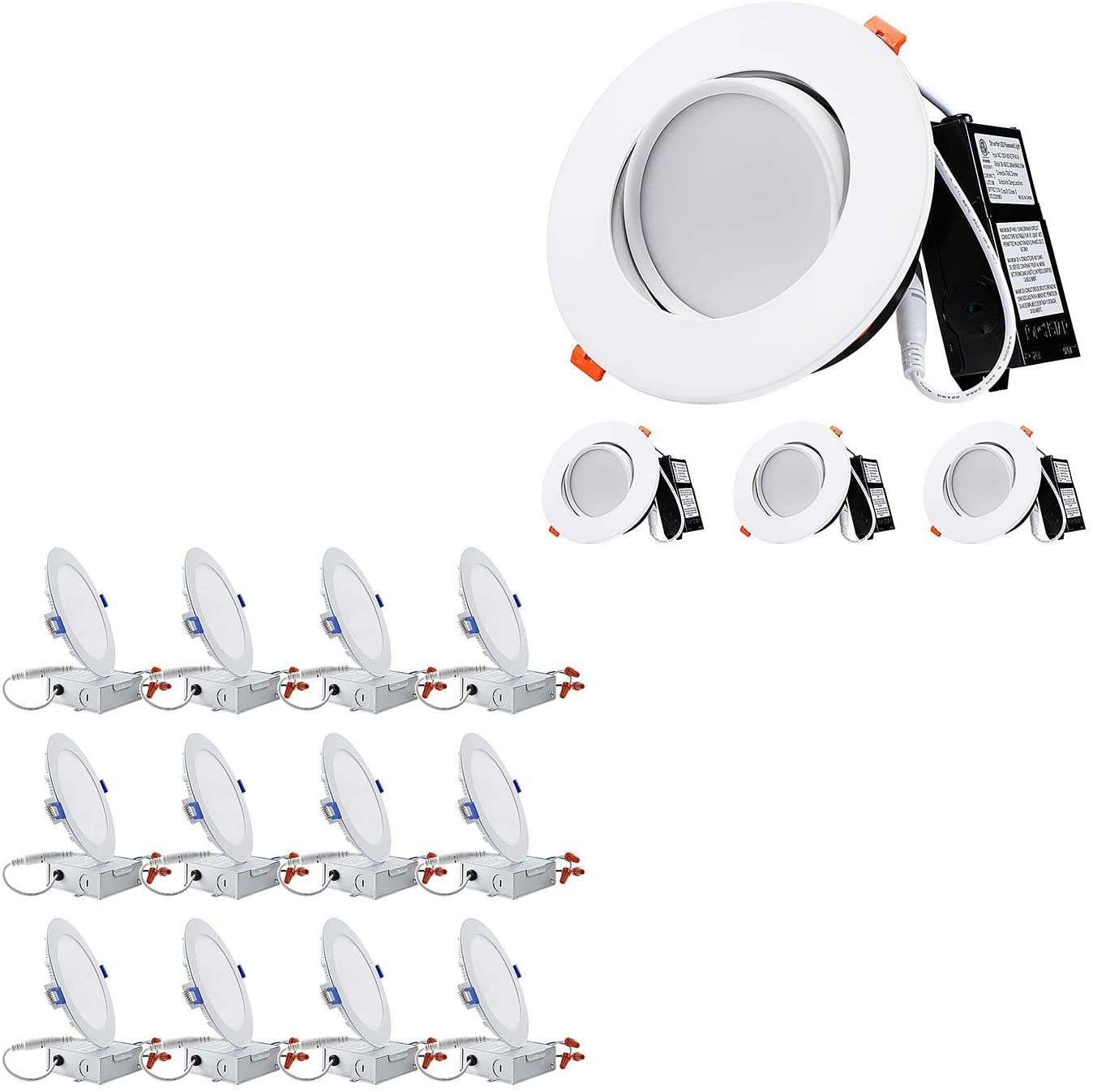 TORCHSTAR Slim LED Downlight Bundle Gimbal LED Recessed Light, 12-Pack 12W 6 Inch Dimmable Ultra Thin LED Downlight, 2700K Soft White & 4-Pack 6 Inch 13.5W Dimmable CRI 90+ Gimbal LED Recessed Light