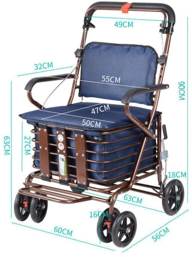GGYDD Rolling Walker with Seat,Elderly Supermarket Cart Lightweight Folding Aluminum Rollator Walker Trolley-p 60x56x90cm(24x22x35)
