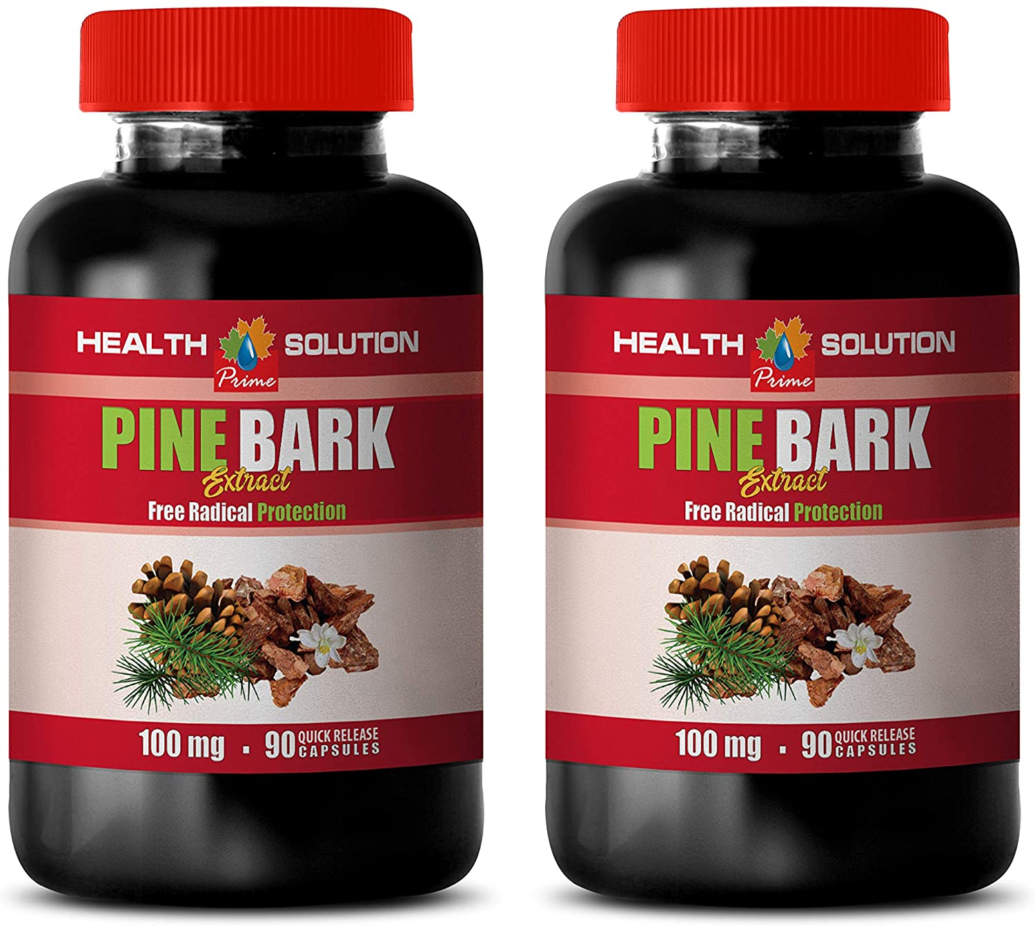 Brain Booster Capsules - Pine BARK Extract - Immune Support Vitamins - 2 Bottles 180 Capsules
