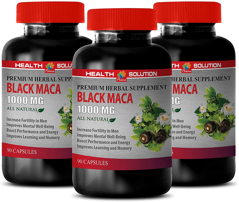 Stamina Booster for Men - Black MACA 1000 MG - Premium Herbal Supplement - maca Supplements for Women - 3 Bottles 270 Vegetable Capsules