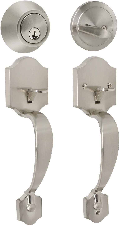 Probrico Brushed Nickel Door Locks for Exterior Entry Door, Single Cylinder Handleset (for Entrance and Front Door), Transitional Contemporary Hardware Lockset Single Cylinder Deadbolt