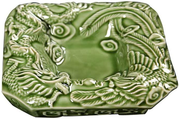KFDQ Novelty Ashtray-Durable Thickening Home Office Fashion Simple Retro Ornament,Green