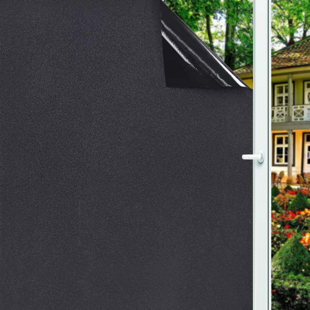 Window Privacy Film Frosted Decorate Tint Heat Control Vinyl Treatments Glass Coverings Security Door Stickers Texture Paper for Home and Office Decoration. (Frosted-Black, 17.7 Inch x 7.8 Feet)