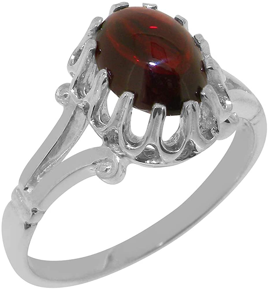 Solid 18k White Gold Natural Garnet Womens Solitaire Ring - Sizes 4 to 12 Available