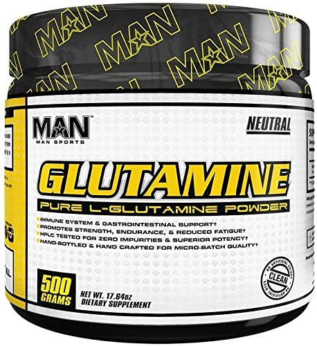 Man Sports L-Glutamine. Glutamine Powder for Sore Muscles, Immune Support and Muscle Recovery (100 Servings)