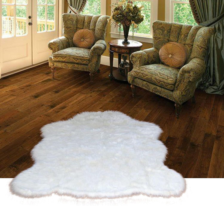 Chubby Bear Skin Faux Fur Area Rug - Natural Warm White Flokati Sheepskin Shag - Soft - Plush - Designer Accent Toss Rug - Fur Accents - USA (4'X5', White)