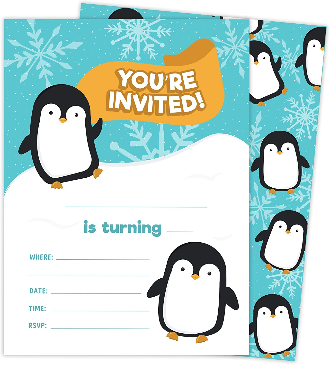 Penguin Design 1 Happy Birthday Invitations Invite Cards (25 Count) With Envelopes and Seal Stickers Vinyl Girls Kids Party (25ct)