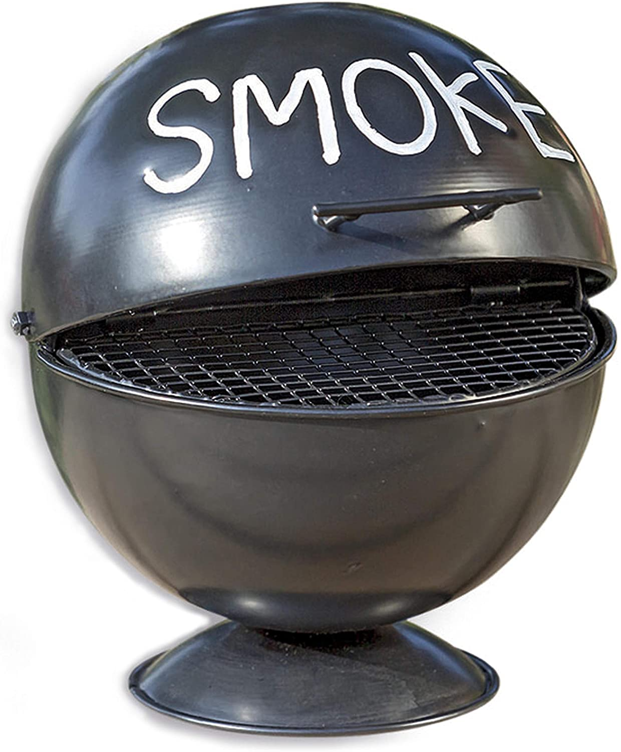 WHW Whole House Worlds Smoke Ashtray, Lidded Dome, Pedestal Base, BBQ Grill Party Style, Black Lacquered Iron, 6 Inches