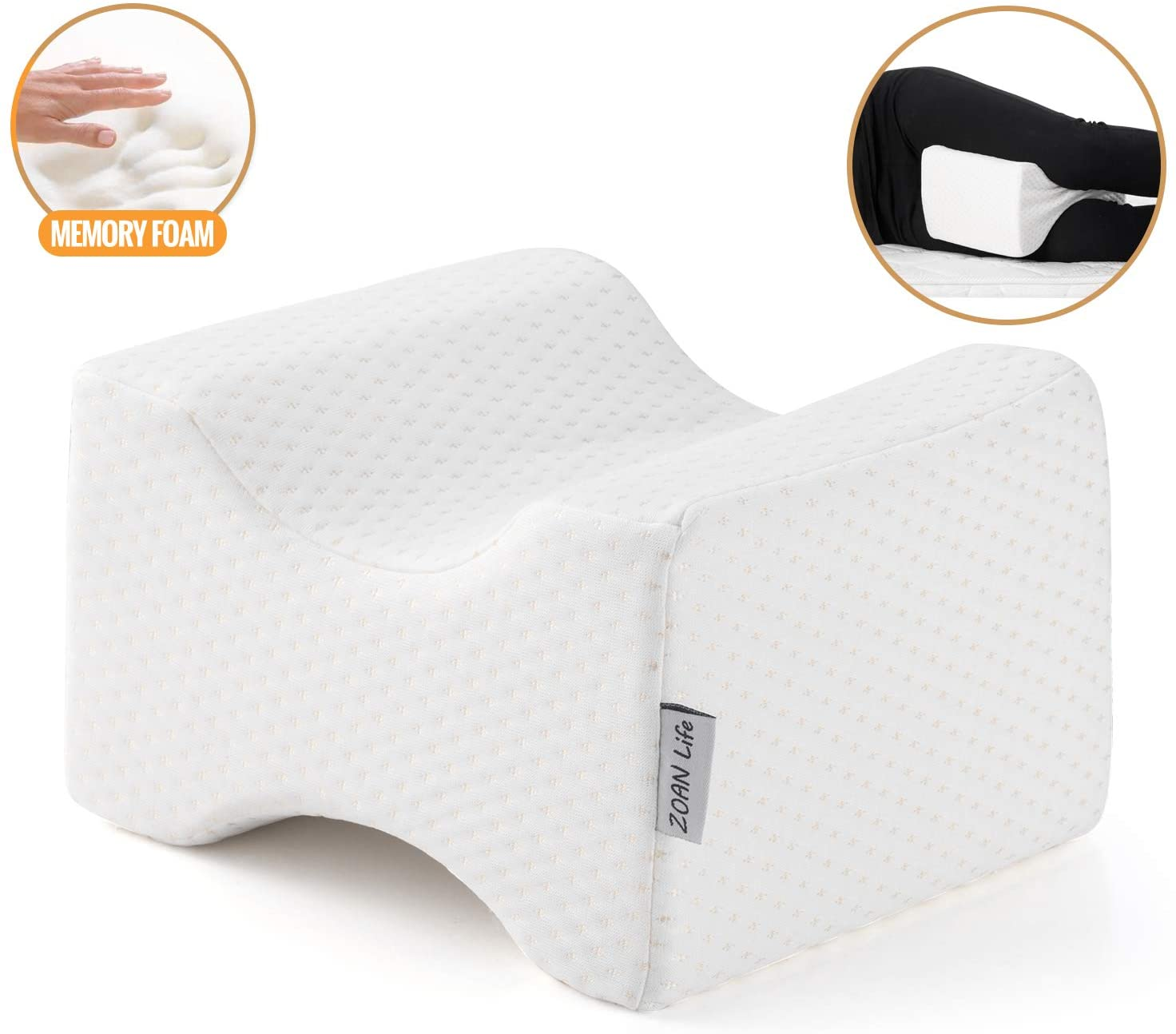 ZOAN Knee Pillows for Side Sleepers, Memory Foam Professional for Back and Hip Pain, Relieve Pregnancy Sciatic Pressure, Better Circulation with Upgrade Removable Cover