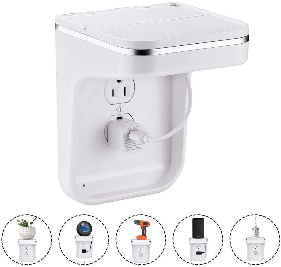 Socket Shelf - Outlet Shelf with LED Night Light - Automatically Turn ON/Off- Wall Socket Bracket Tray Wall Plug Bracket -Bathroom Storage Bracket - Easy to Installation