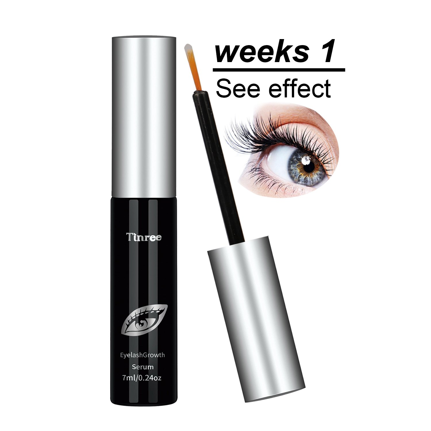 Tinree Eyelash Growth Serum Luscious Lashes and Eyebrows - Natural Ingredients Reveal Your Beauty(0.24 fl.oz)