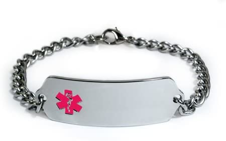 COMPAZINE Allergy Medical ID Alert Bracelet with Embossed Emblem from Stainless Steel. Style: Classic Wide, Premium Series.