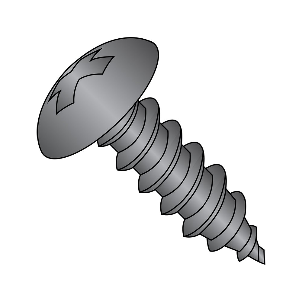 Steel Sheet Metal Screw, Black Oxide Finish, Truss Head, Phillips Drive, Type A, #8-15 Thread Size, 2-1/2 Length (Pack of 50)