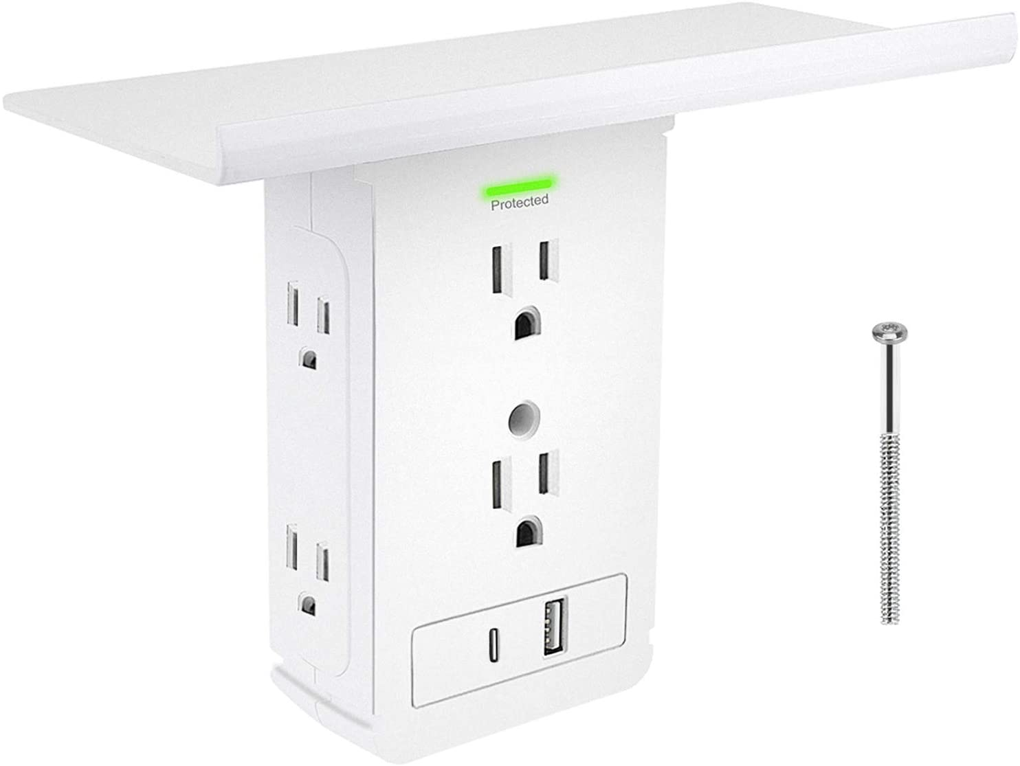 Socket Shelf Outlet,Surge Protector Wall Outlet,Extra-Large Shelf with 6 Electrical Outlet Extenders,1 USB Charging Ports,1 Type-C Charging Port,Removable Built-In Shelf (6AC)