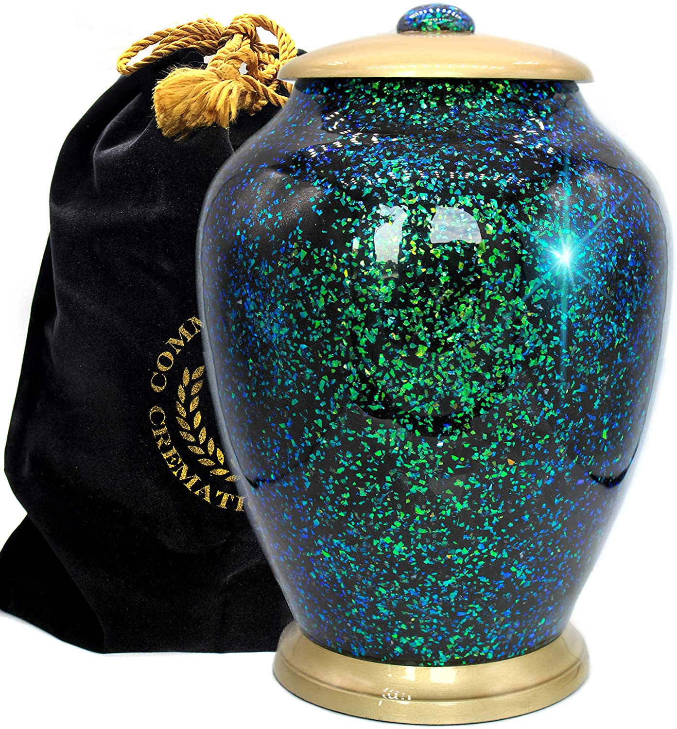 Shimmering Light Cremation Urns for Human Ashes Adult for Funeral, Niche, Burial or Columbarium, Urns for Ashes Adult (Atlantis, Large)