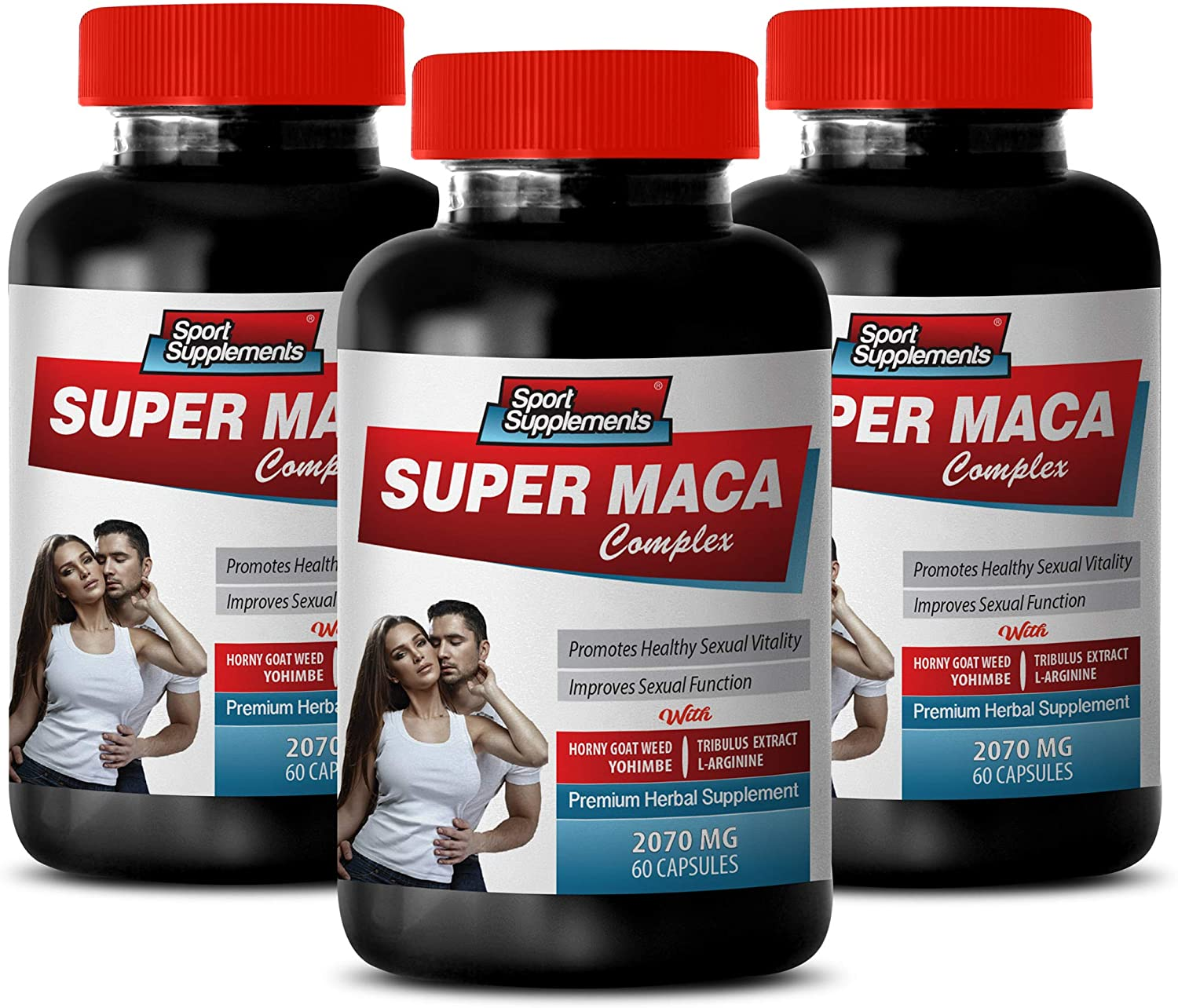 Testosterone Booster with Horny Goat Weed - Super MACA Complex - Premium Herbal Supplements - l-arginine Horny Goat Weed - 3 Bottles 180 Capsules
