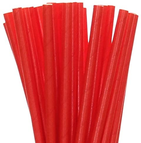 Biodegradable Paper Straws Red Solid (100)