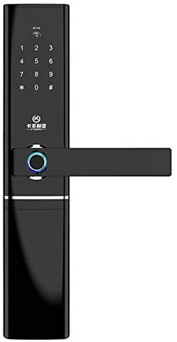 Smart Fingerprint Door Lock Security Intelligent Lock Biometric Electronic Wifi Door Lock With Bluetooth APP Unlock (Color : Black)