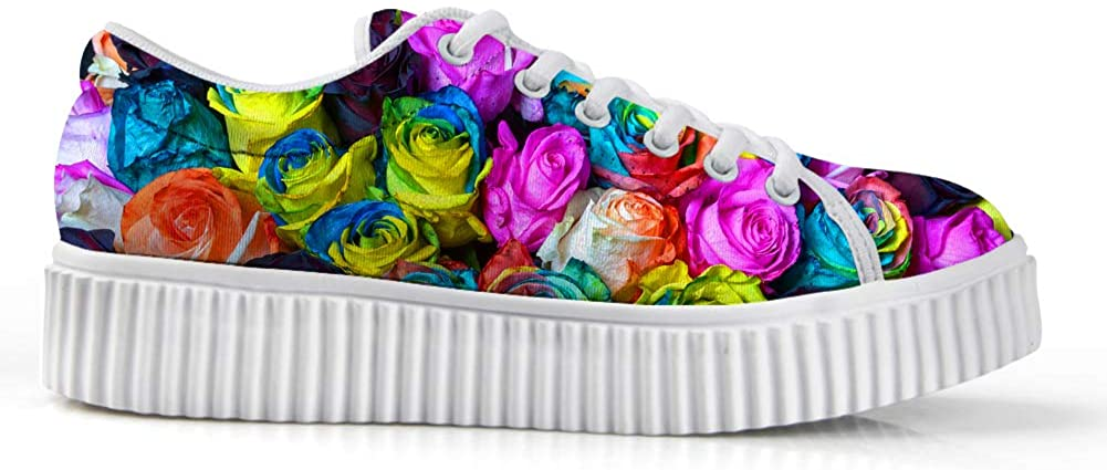 Zzjsstore Design Low Shoes 3D Printed Multicolorful Flowers Patterned Low Shoes are Suitable for Womens Leisure