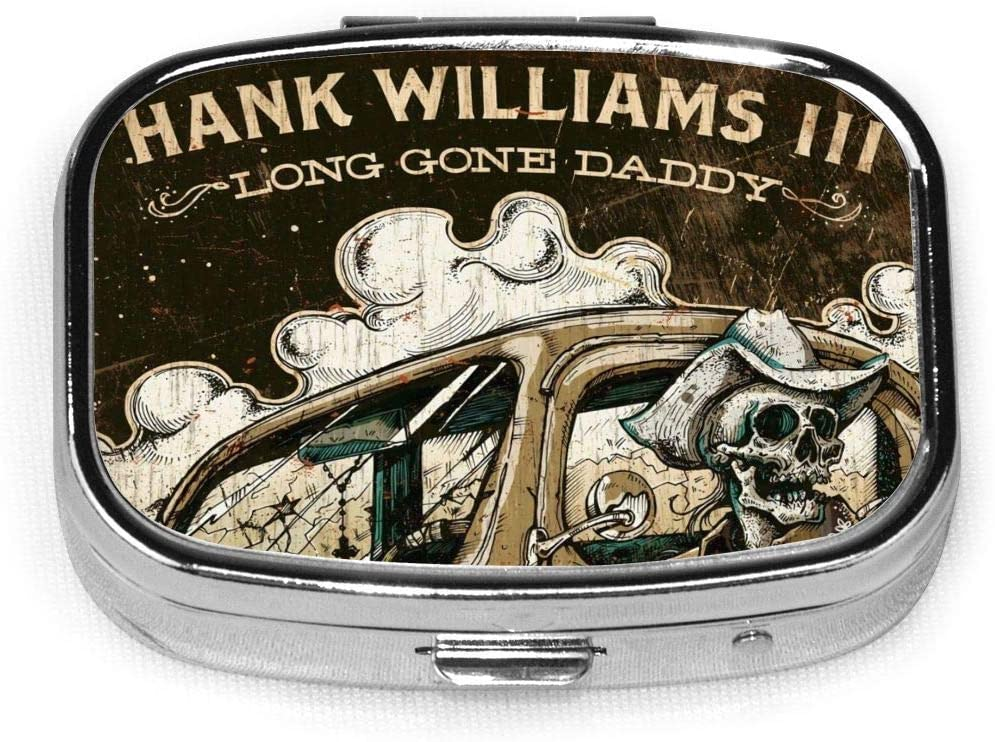 Hank Williams Iii Pill Box Square Metal Pill Case Two Compartment Pocket Medical Drug Tablet Medicine Storage