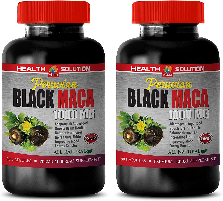Energy Booster Supplements - Peruvian Black MACA 1000MG - All Natural - Premium Herbal Supplement - Black maca gelatinized Capsules - 2 Bottles 180 Vegetable Capsules