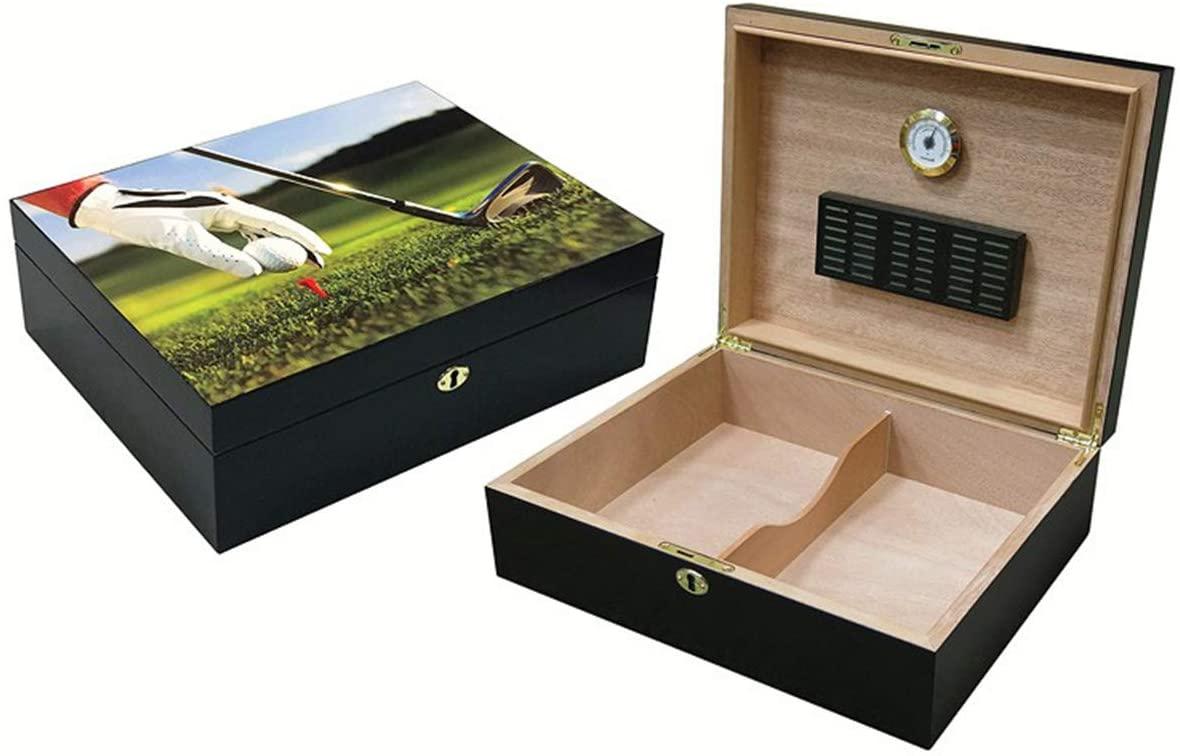 9 Iron Vivid 3D Golf Scene Cigar Humidor - Capacity: 75 - Black Satin Finish