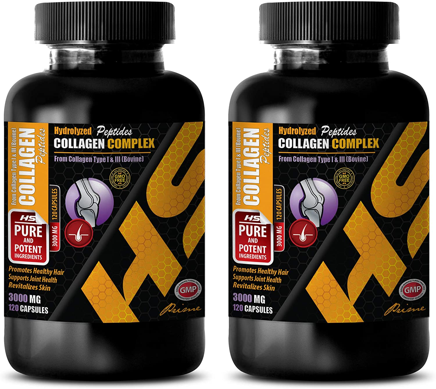 Hair, Skin and Nails Supplement - HYDROLYZED PEPTIDES Collagen 3000MG Formula - Natural Health Support - Collagen Collagen Powder - 2 Bottles (240 Capsules)