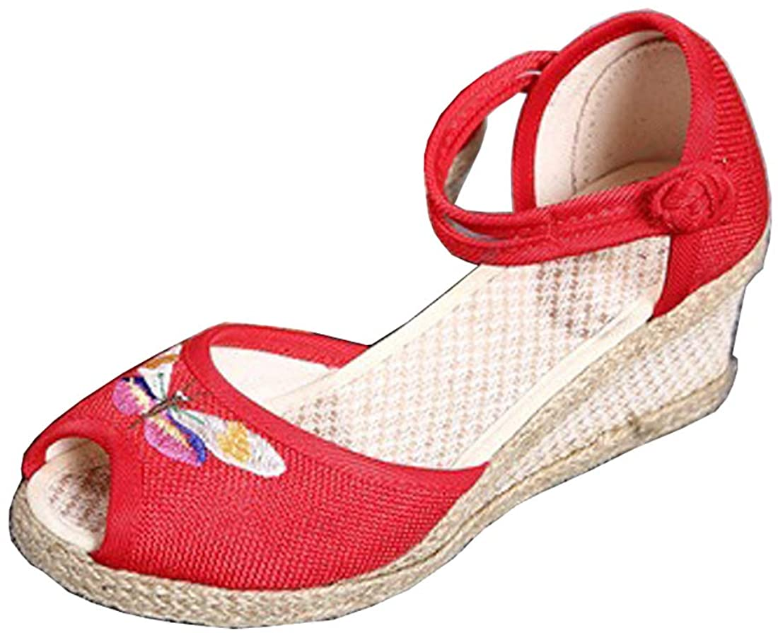 Women's Ankle Strap Espadrilles Sandals Peep Toe Platform Wedge Heel Sandals Embroidery Butterfly