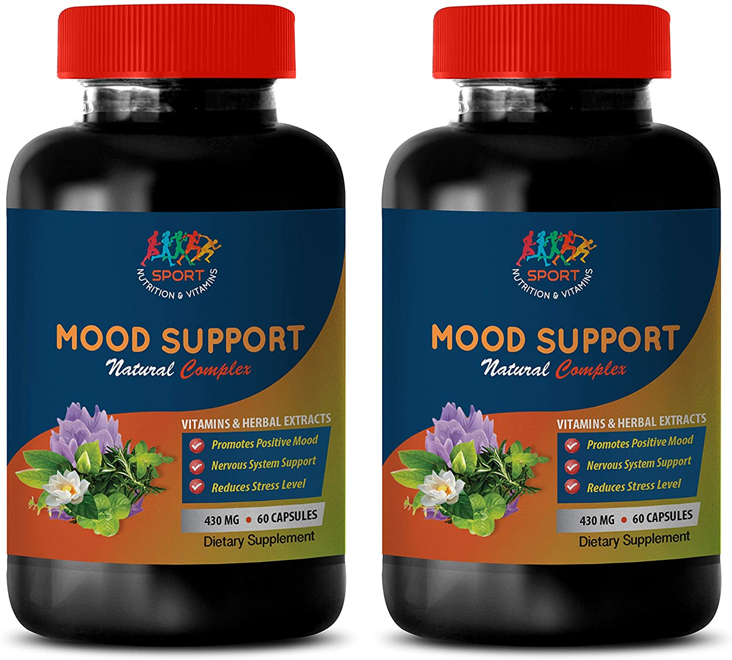 Mood Boosting probiotic - Mood Support Natural Complex - Vitamins and Herbal EXTRACTS - 5htp and GABA Supplement - 2 Bottles 120 Vegetable Capsules