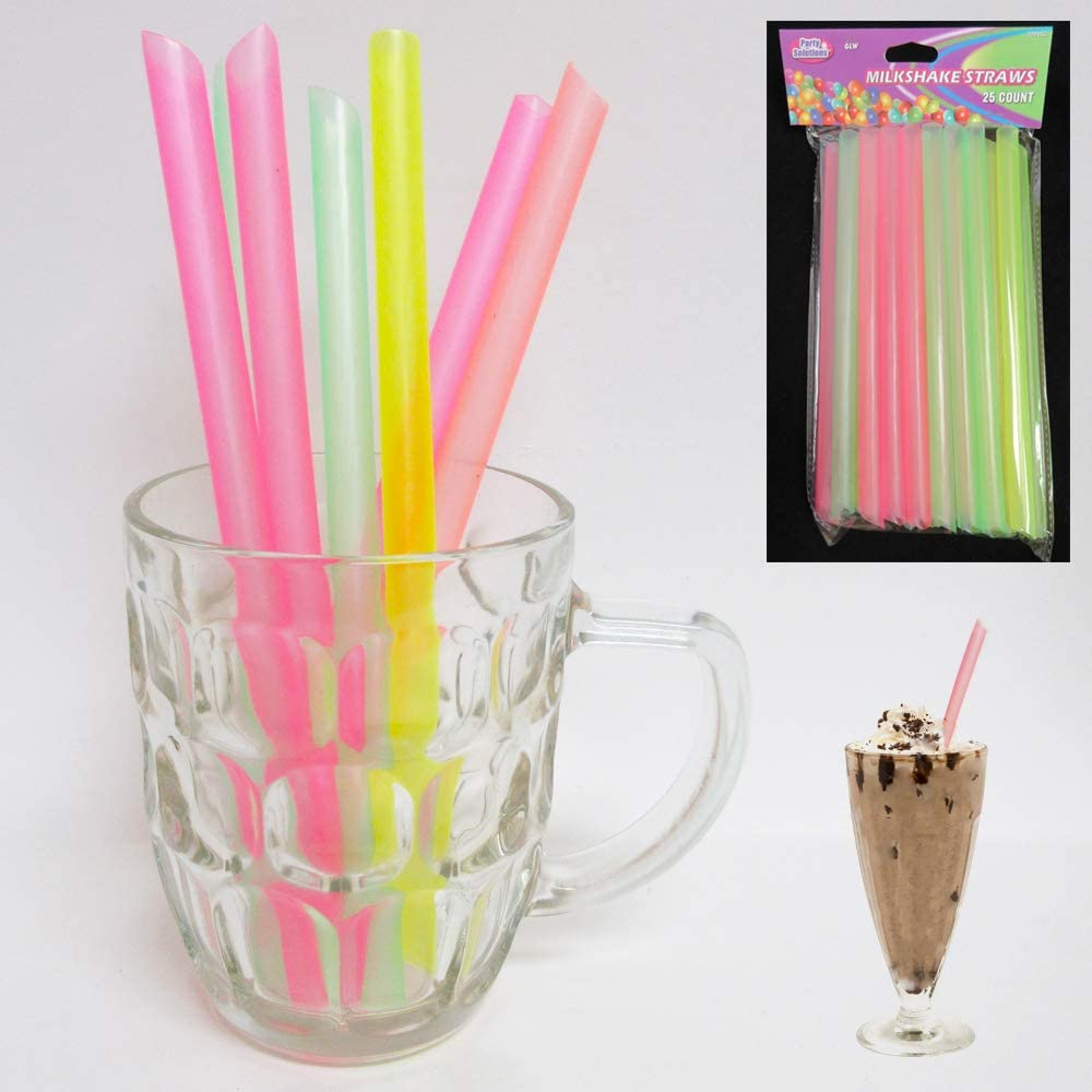 100 Milkshake Straws Jumbo Smoothie Drinking Party Neon Large Thick Straw Boba