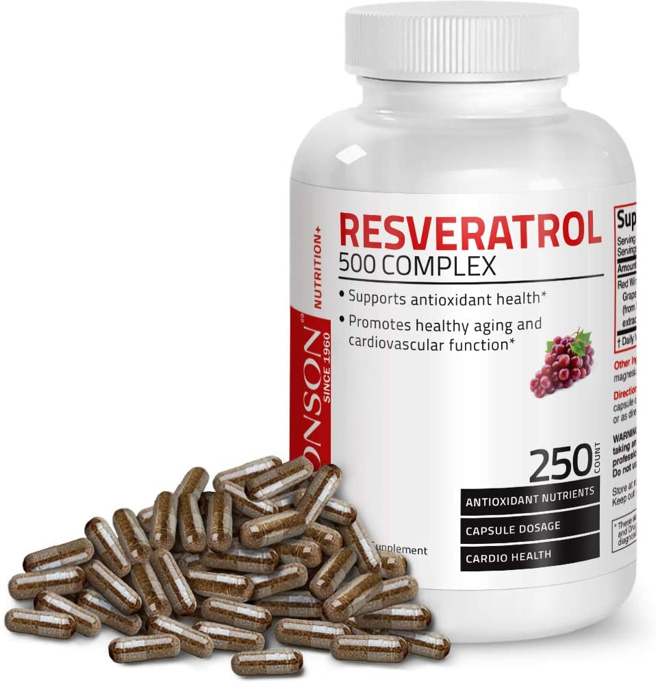 Resveratrol 500 Complex Red Wine Extract Natural Antioxidant Supplement for Cardiovascular & Immune System Health, 250 Capsules