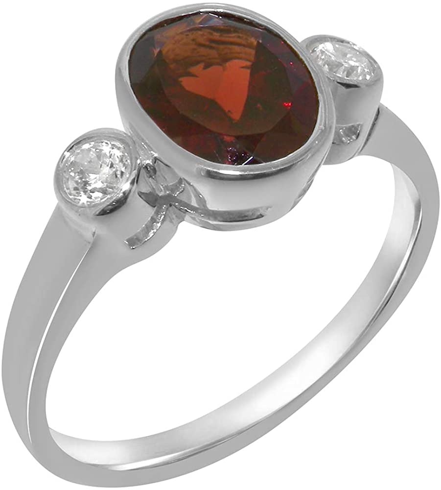 Solid 10k White Gold Natural Garnet & Diamond Womens Trilogy Ring - Sizes 4 to 12 Available