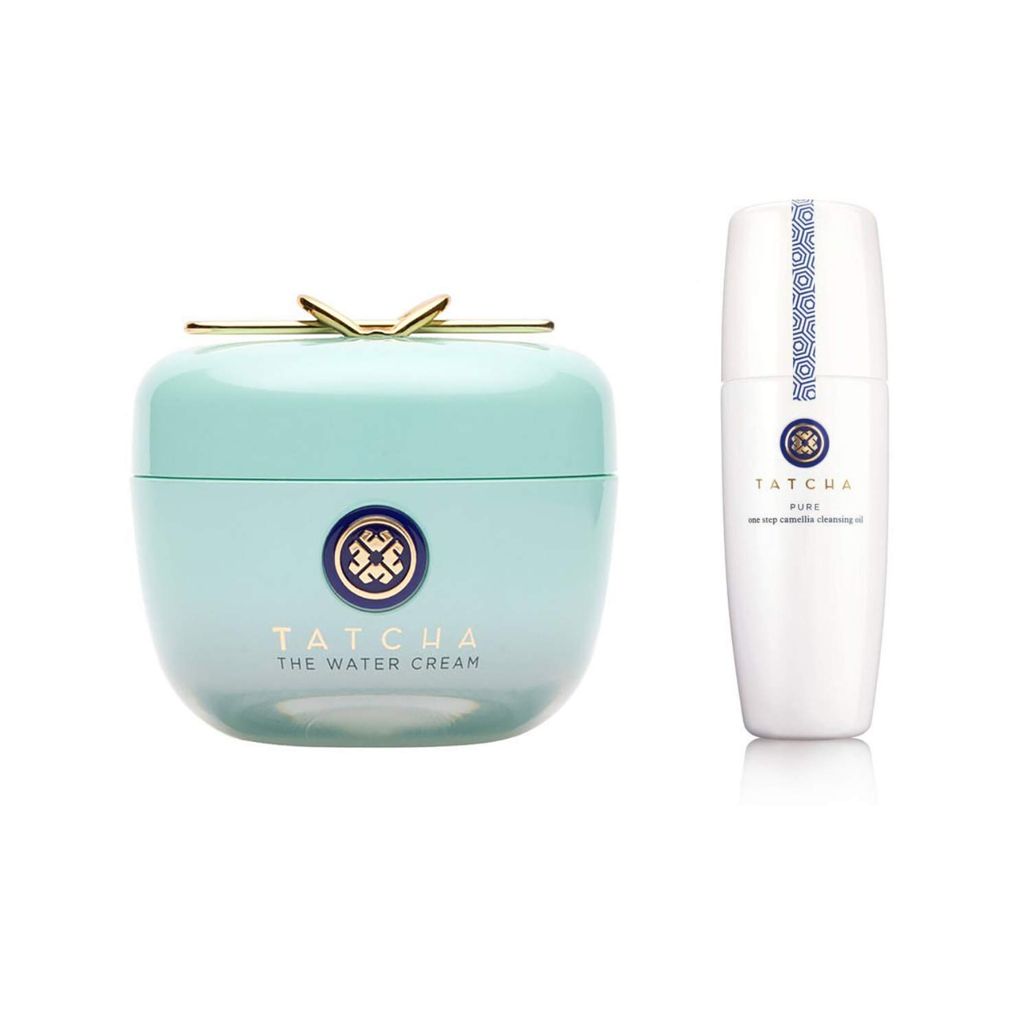 Tatcha Bundle Set: The Water Cream (50ml) & Pure One Step Camelia Cleansing Oil (150ml): 2 in 1 Makeup Remover + Skin Moisturizer Reduce Appearance of Fine Lines
