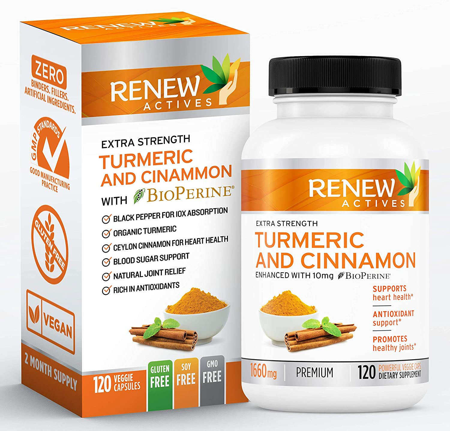 Renew Actives Turmeric Cinnamon Supplement: Anti Inflammatory Dietary Supplements for Heart Health, Joint Pain Relief - Turmeric Curcumin and Ceylon Cinnamon with BioPerine Black Pepper - 120 Capsules