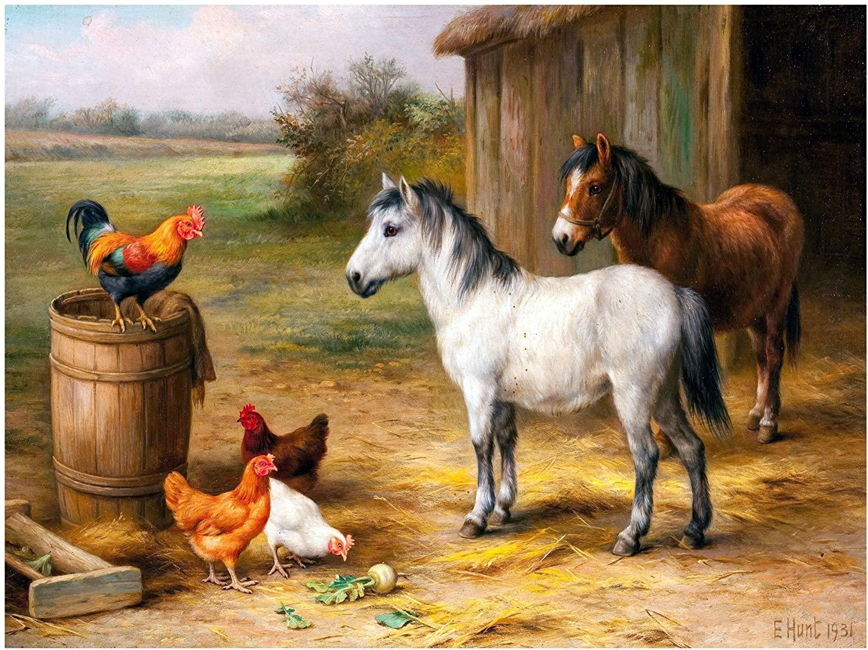 Farm Ranch Rooster Horse Poultry by Walter Hunt Accent Tile Mural Kitchen Bathroom Wall Backsplash Behind Stove Range Sink Splashback One Tile 8