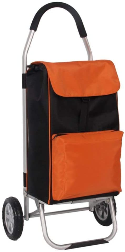 ZXL Shopping Trolley,Lightweight Foldable Travel Grocery Trolley,Cart,2 Pu Wheel Oxford Cloth Mobility Trolley,Bag Cart,Market in Orange Large Capacity 56L