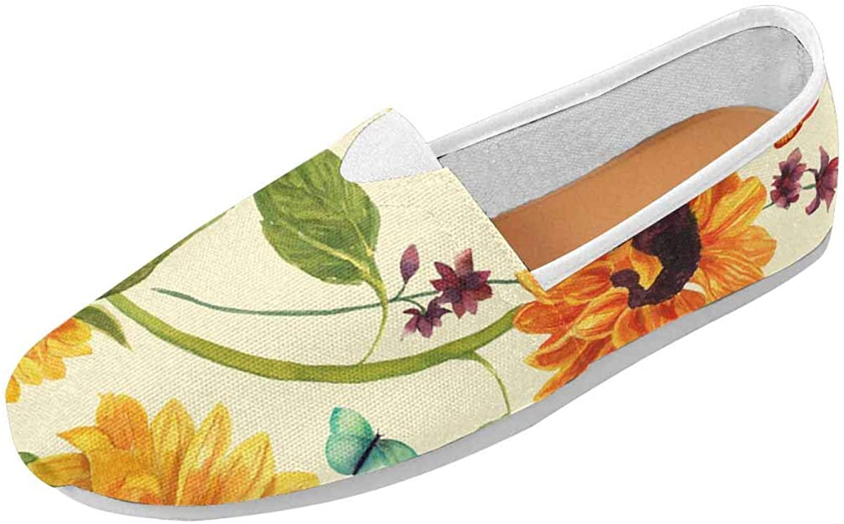 INTERESTPRINT Sunflower Green Leaf Women's Natural Comfort Walking Flat Loafers