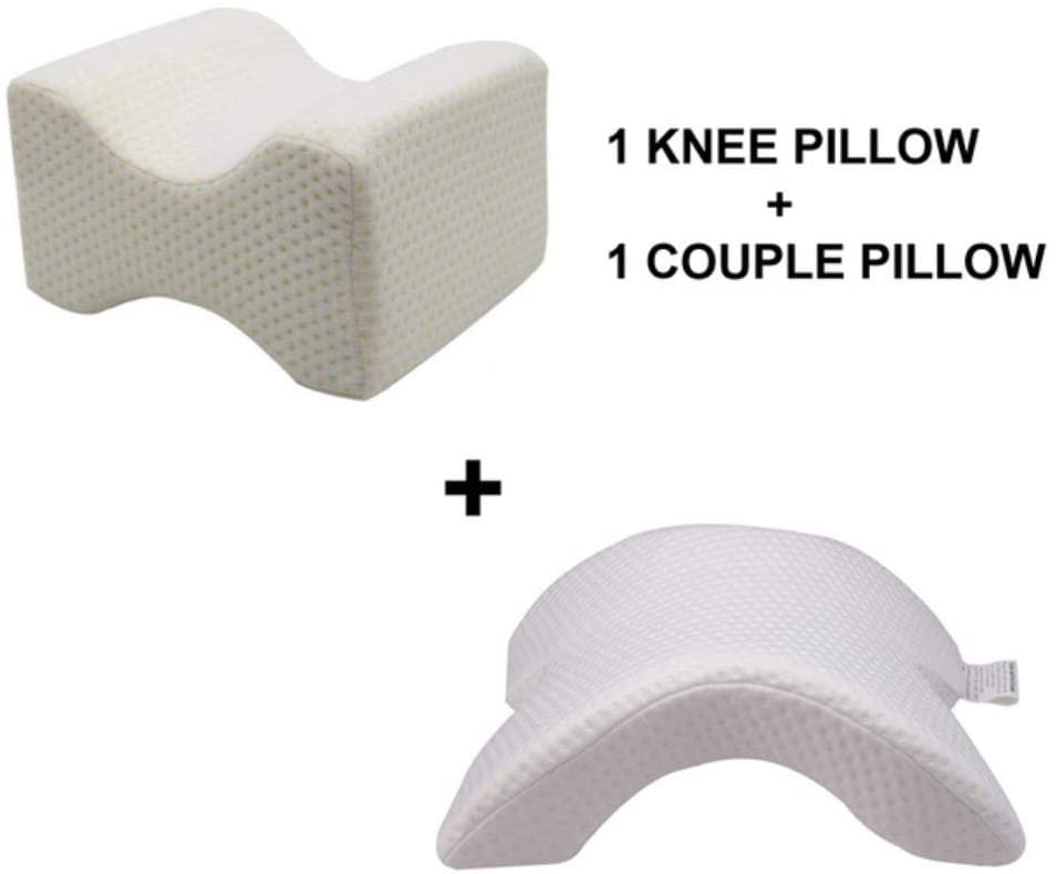 SHIJING Leg Positioner Pillows Memory Foam Bedding Neck Pillow Couple Sleep Leg Knee Bolster Pillow Butterfly Shaped Health Cervical Cushion,1 Knee and 1 Couple