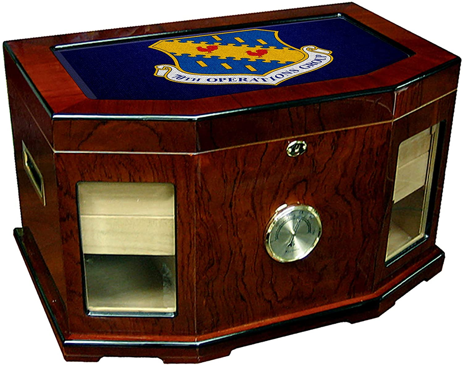 Large Premium Desktop Humidor - Glass Top -US Air Force 70th Operations Group