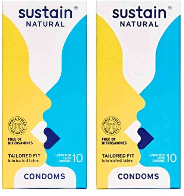 Susttain Natural Latex Condoms - Comfort Fit - FDA Cleared - Nitrosamine Free - Non GMO - Fair Trade - 10 Count (Pack of 2) … (Tailored Fit)