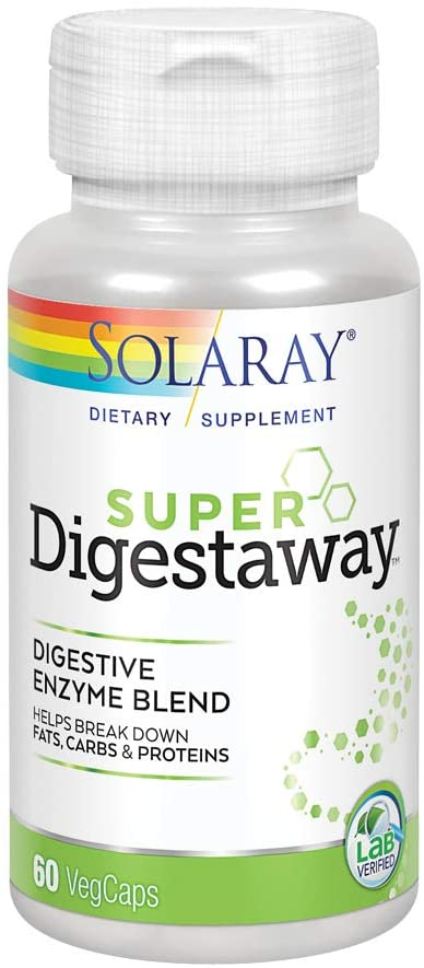 Solaray Super Digestaway Digestive Enzyme Blend | Healthy Digestion & Absorption of Proteins, Fats & Carbohydrates | Lab Verified | 60 VegCaps