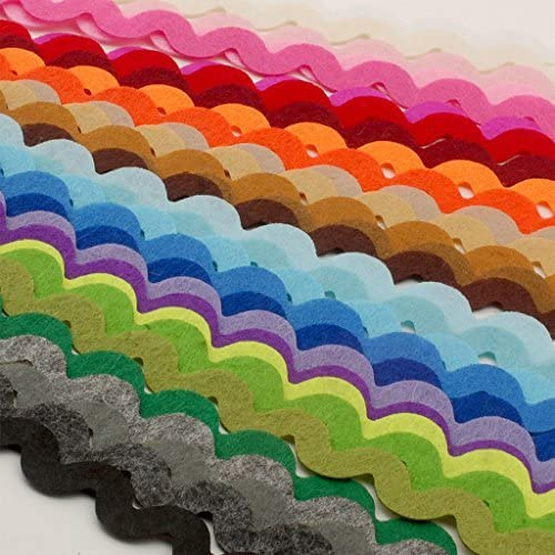 Summer-Ray 90pcs (28.5 yrds in Total) Mixed Colors Felt RIC Rac Ribbons
