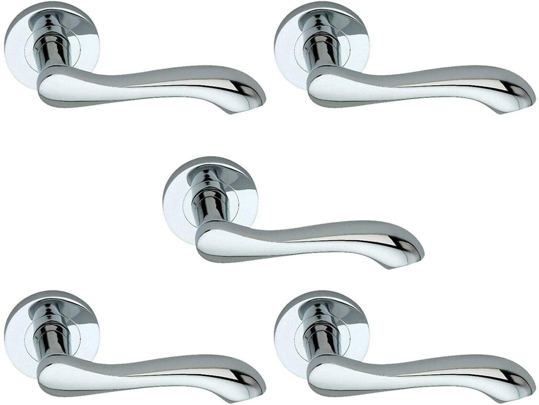 5 Sets of Door Handles 'Caris' Solid Brass Lever on Rose - Polished Chrome