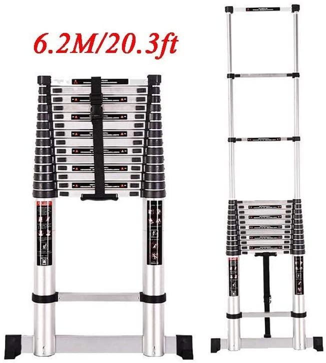 LWW Ladder,20.3Ft Aluminum Telescopic Extension Ladder, Extendable Telescoping Ladder with Spring Loaded Locking Mechanism Non-Slip Ribbing 330Lbs Capacity