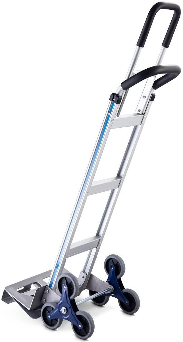 2-In-1 Aluminum Folding Stair Climber Cart Hand Truck Capacity 550 LBS w/3 Wheel Design
