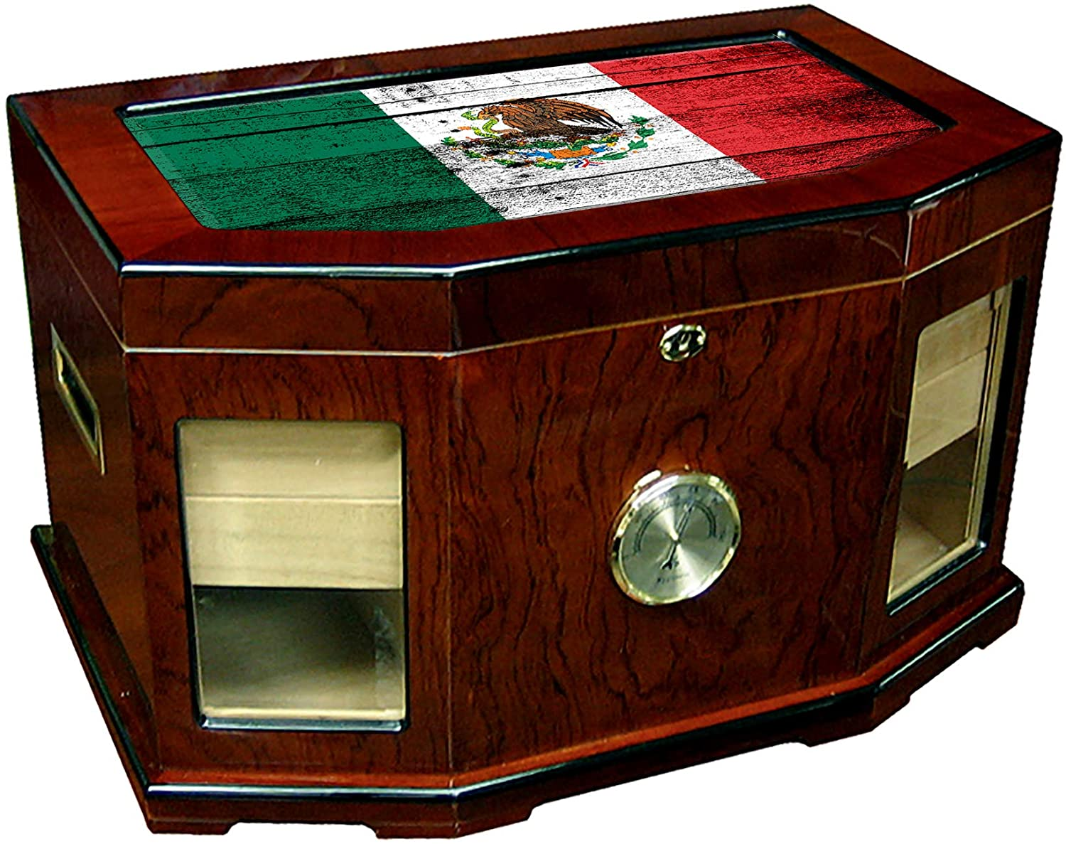 Large Premium Desktop Humidor - Glass Top - Flag of Mexico (Mexican) - Wood Design - 300 Cigar Capacity - Cedar Lined with Two humidifiers & Large Front Mounted Hygrometer.